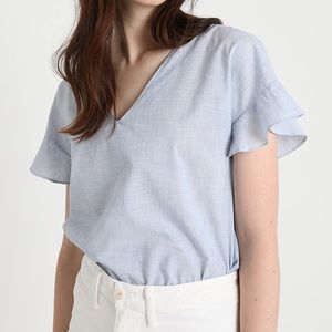 Madewell Sundrift Ruffle Top in Craft Blue | M